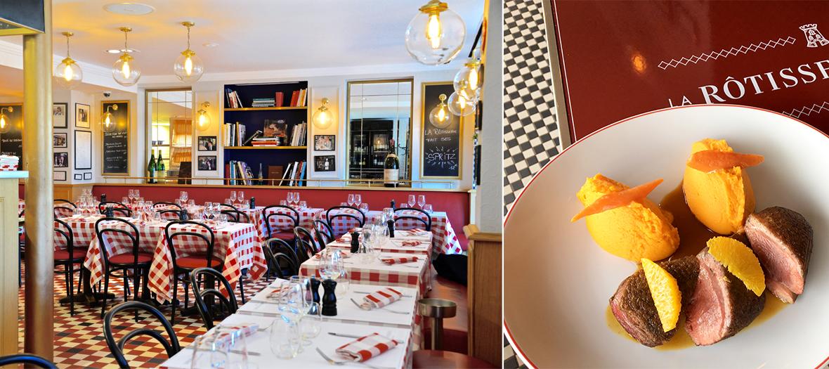 Salle de restaurant et filet de canard rôti avec purée de pomme de terre