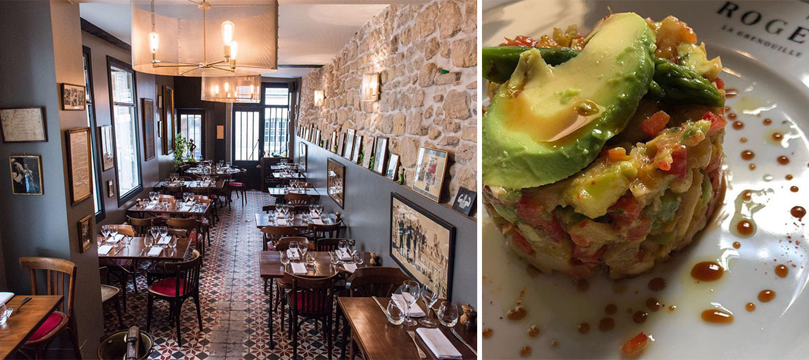 Inside room and avocado tartare of Roger la Grenouille restaurant in Paris
