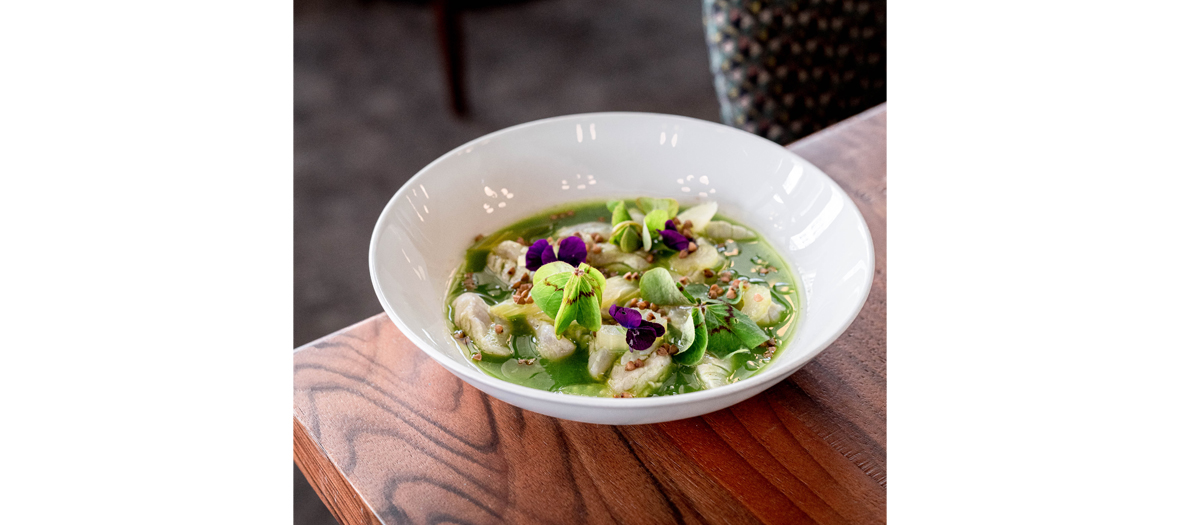 Red mullet ceviche with green juice, preserved branch celery and buckwheat seeds, oxalys