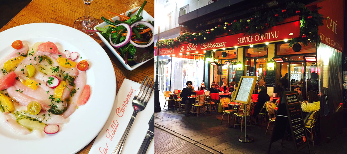 Plat de poisson et Terrasse du restaurant Les Petits Carreaux
