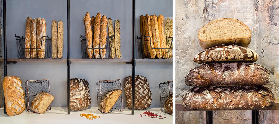 Des pains de campagne aux noisettes et écorces d'orange, cranberry noix de pécan