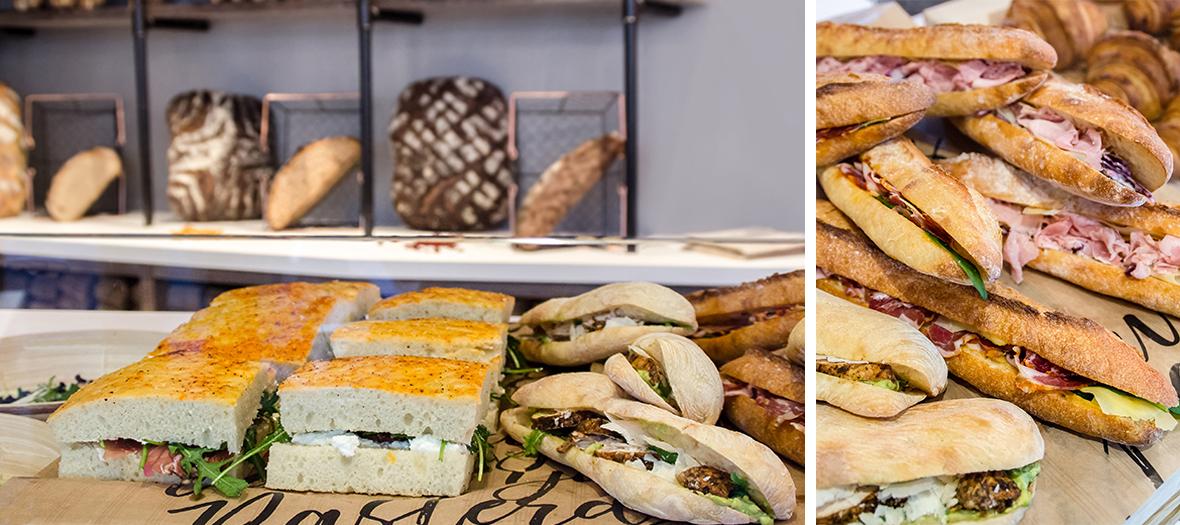 Prince de Paris ham sandwich, French emmental, coleslaw, chicken guacamole parmesan