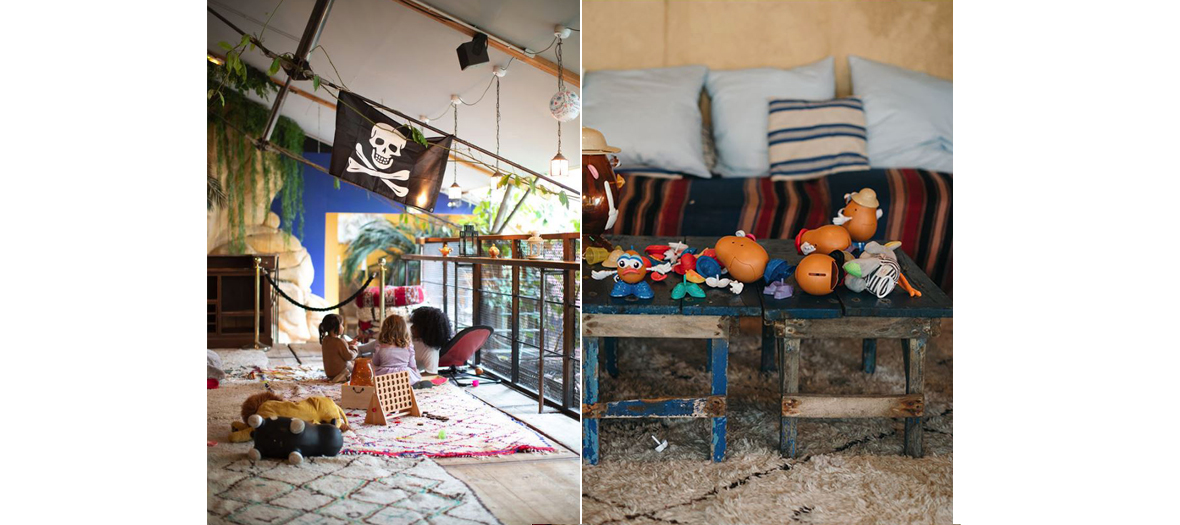 Playground for children on Berber carpets, between a waterfall and a pirate ship