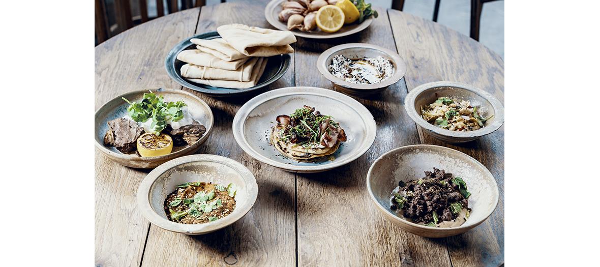 agneau haché, hoummous de courge fumée, galette de ciboulette, falafels de fèves