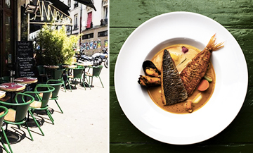 Bouillabaisse and terrace at the Cannibale café in Belleville Paris