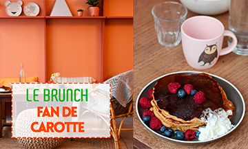 Fan De Carotte brunch with savoury or sweet plump pancakes, a very tempting pumpkin soup with croutons, a soft boiled egg to be dipped into with sliced bread along with a torrid gouda with truffle, a hot beverage (chocolate, café au lait, cappuccino, chai latte…) and the juice of the moment.