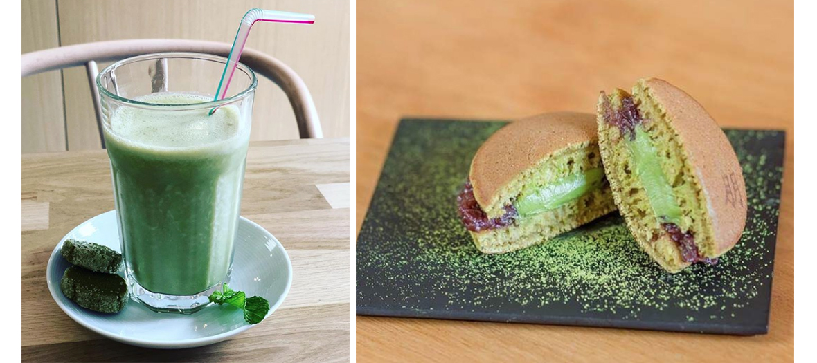 Cake matcha and smoothie