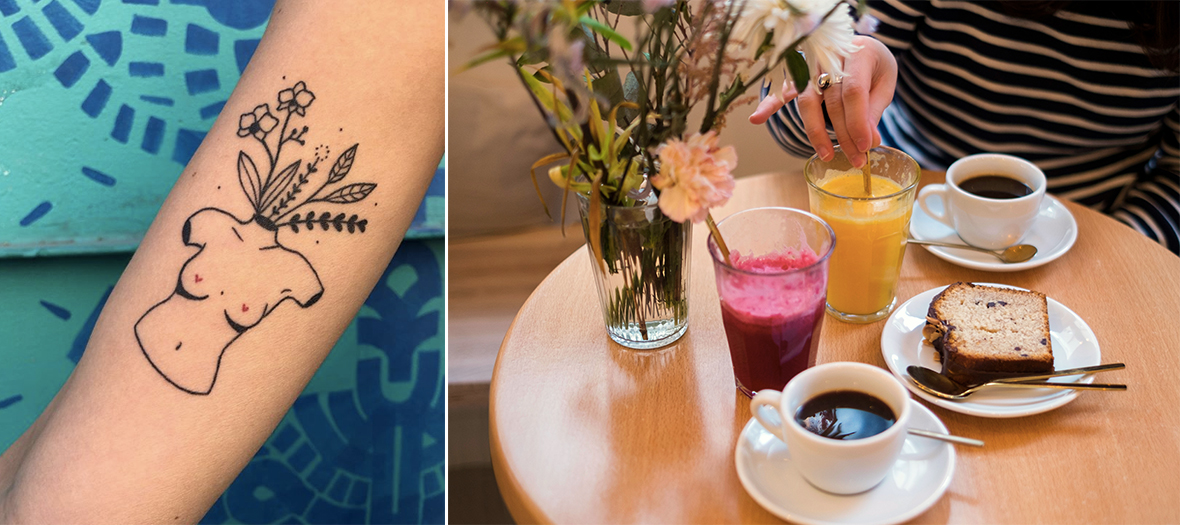 Tatoo session ans gluten free pastries in Nomade café in Paris in the Marais district