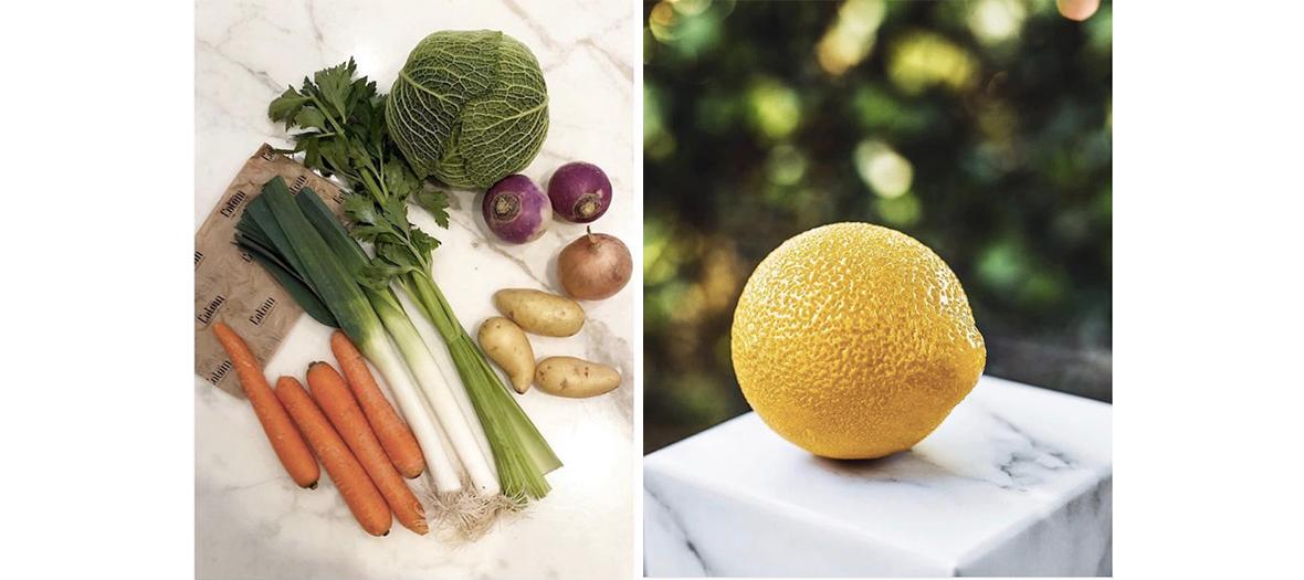 Carottes, asperges verte, pommes de terre, chou, citron