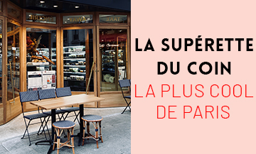 Facade and Terrace of the coffee-Grocery-Superette Petit Plisson of Timothée Lacour and Pauline Poirier