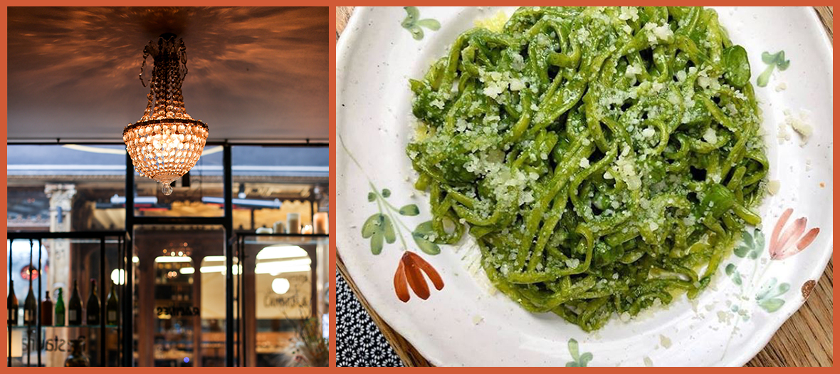Green pastas of Racines restaurant in Paris