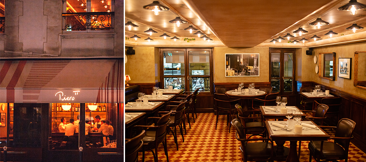 Exterior facade and interior atmosphere of Pierre Gagnaire's restaurant