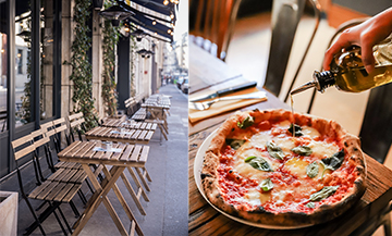 Organic Italian flour pizza at the Acqua E Farina italian restaurant in Paris