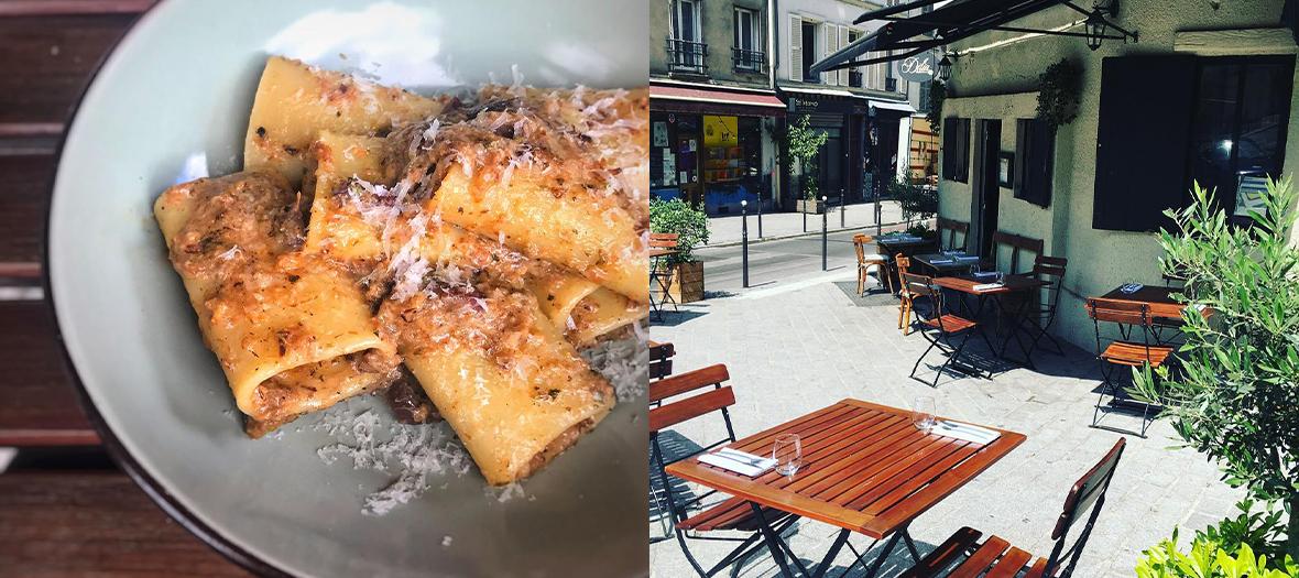 Plat de pasta bolognaises et Terrasse du restaurant Dilia