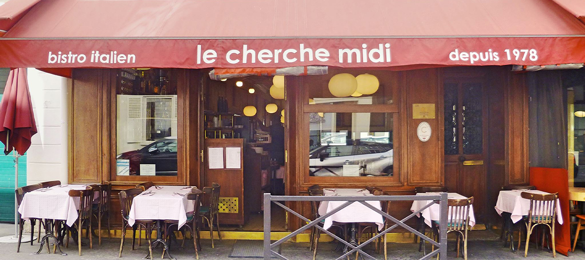 Facade and terrace of the Italian bistro Le cherche Midi
