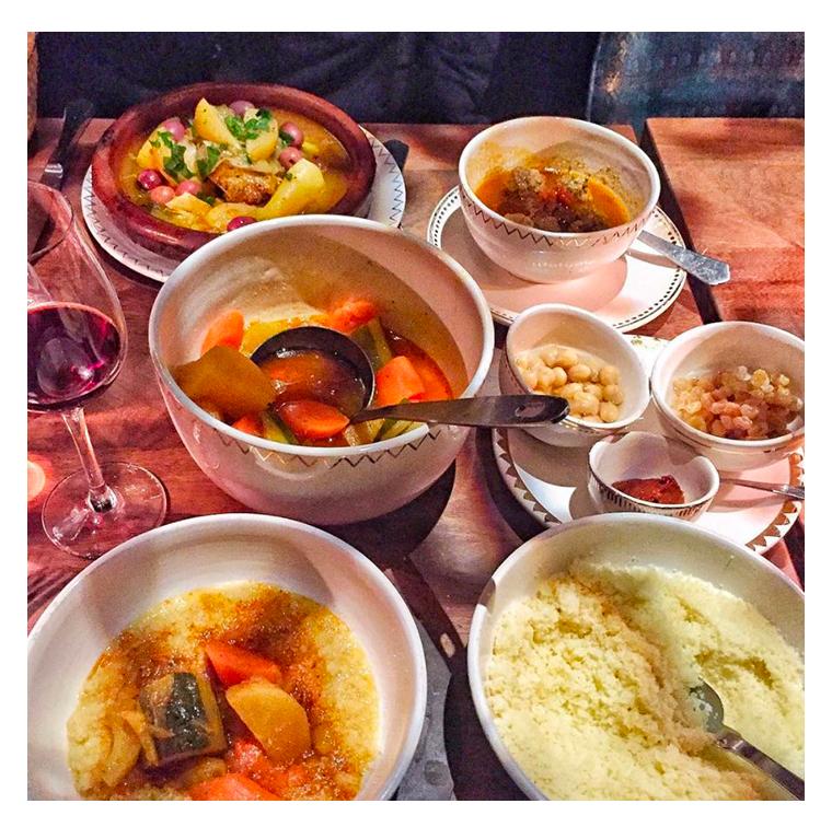 Couscous vegetable broth, merguez, mechouis
