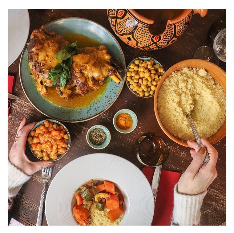 Couscous paprika, turmeric, ras el hanout, chicken, cinnamon, raisins, honey, orange blossom, kefta, lamb skewers, vegetable broth