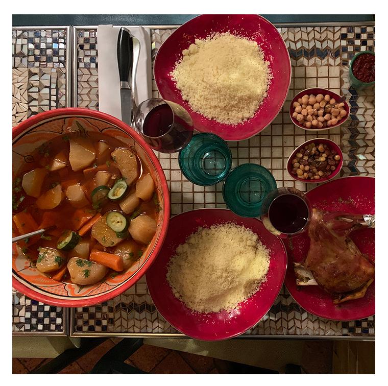 Couscous méchoui, vegetable broth