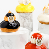The savory nuns with the flavors Chocolate, vanilla and mango from the Dolloyo pastry