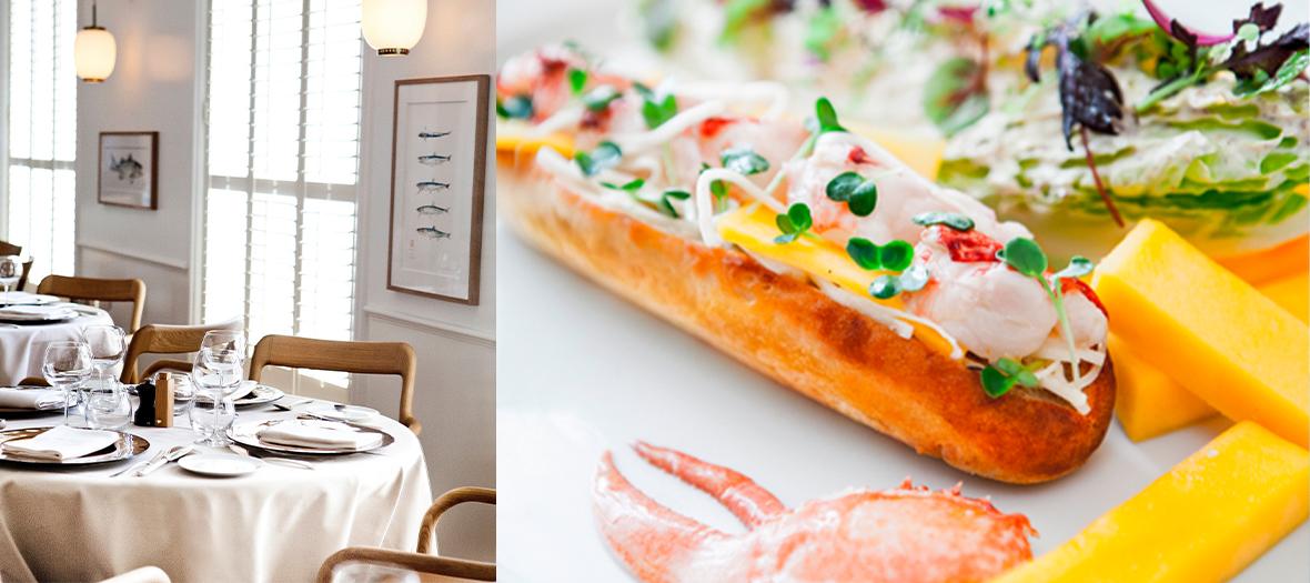 ambiance interieur du restaurant et sandwich au homard du restaurant Rech