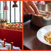 Salle de restaurant et Spaghetti alla carbonara de Cucina