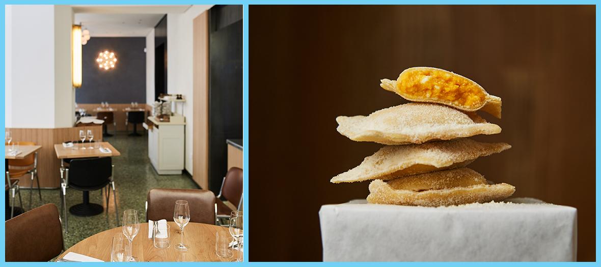 Salle de restaurant et raviole farçies de Passerini