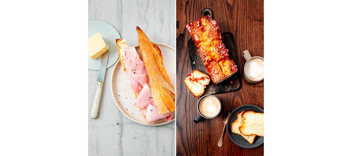Sandwich jambon beurre et brioche aux pralines roses