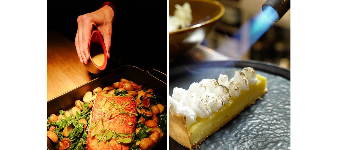 Plats à partager et dessert tarte au citron meringuée