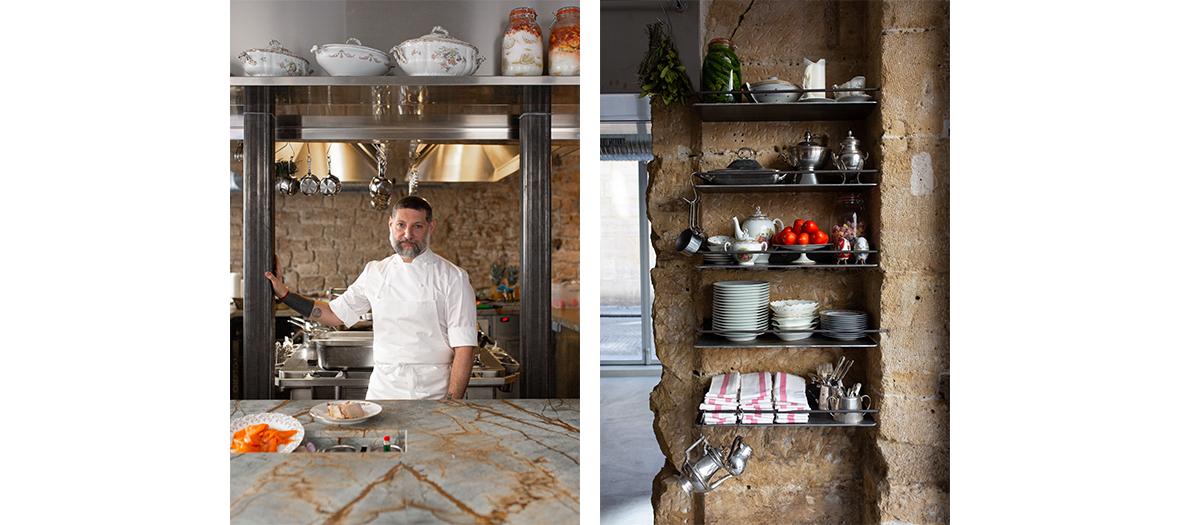 Portrait du chef Assaf Granit et un coin rangement du restaurant shabour