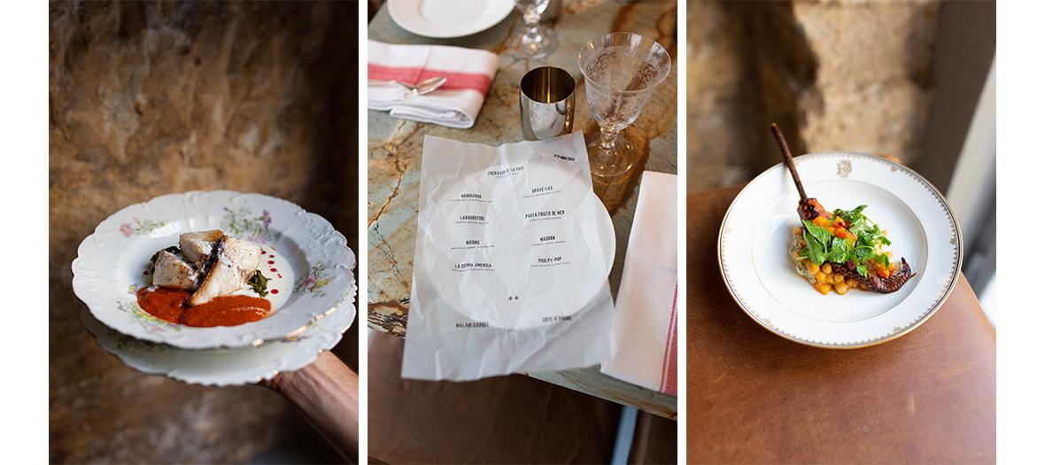 disposition des couvert et plats de tortellini au chorizo, machluta, labane et pignons de pin,poisson et une sauce spicy