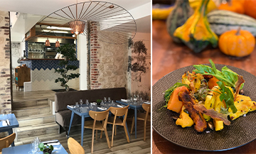 Interior ambiance and dishes of green cabbage with citrus and roasted pumpkins from the restaurant Les Petits Cousins