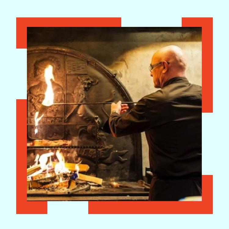 rotisserie Flamboire restaurant fireplace