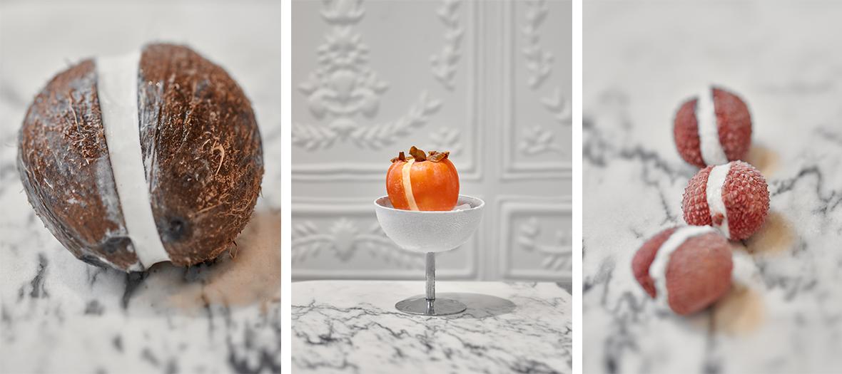 Coconut sorbet, khaki, lychee in Paris