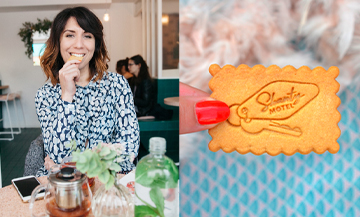 Shanty Baehrel eating a Personalized Biscuit at the pop-up store in the heart of the Marais in Paris