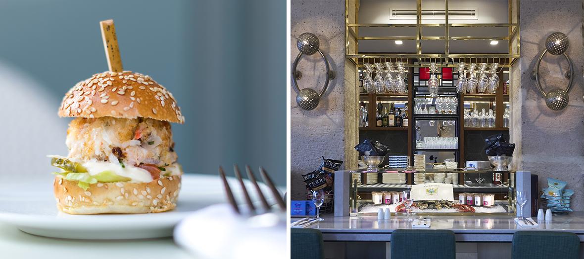 Restaurant place de la Madeleine, salle intérieur et le Crab'burger