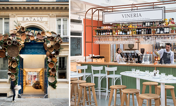 Facade and interior atmosphere of the restaurant Eataly in Paris