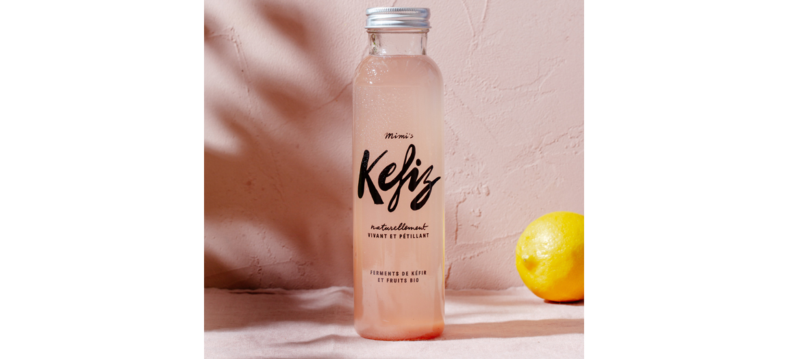 Bottle of Kefir with lemon beside