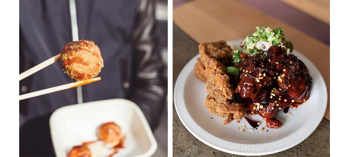 Hero fried chicken dish and Seoul Mama kimchi balls