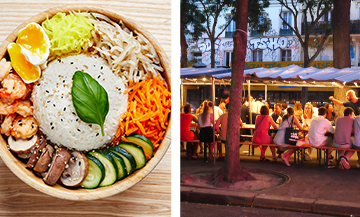 Plat coreen de riz,crevettes, carottes, concombre et l'extérieur du Market Food coréen de belleville à Paris