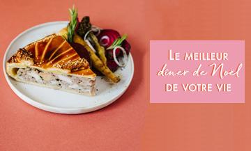 Plat de tourte à la volaille, foie gras et morilles accompagné d'une sauce morilles et d'une salade mache de la Maison Vérot offert par Doitinparis comme Diner Noel