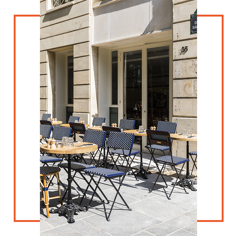 Terrace of Maison Plisson in Place du Marché Saint Honoré in Paris