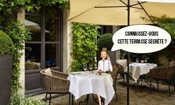Terrasse du Restaurant Anne au Pavillon de la reine à Paris