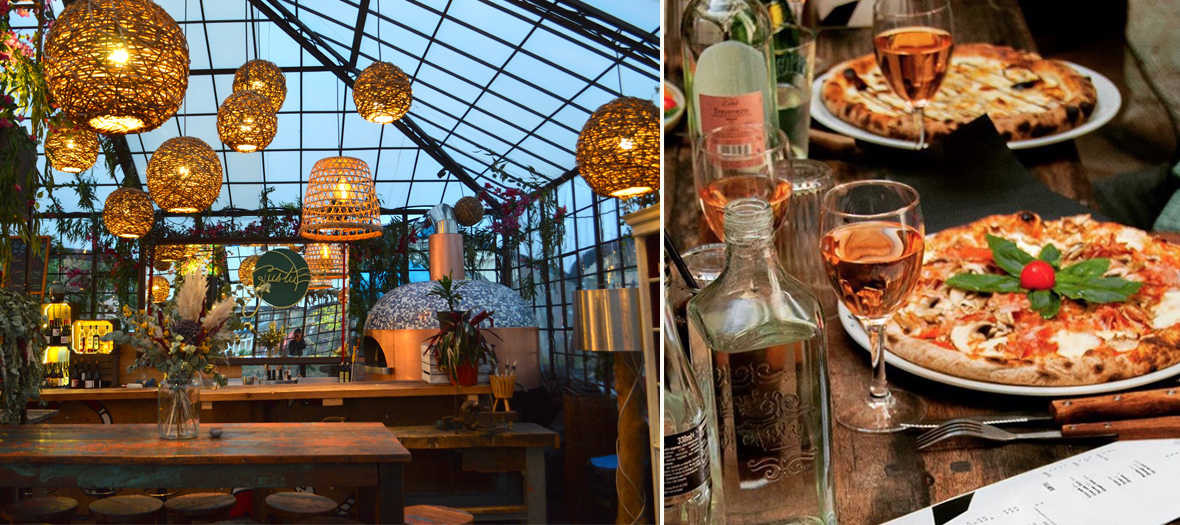 Decoration of the heated greenhouse of the Rotunda of Stalingrad in an old boat parquet with wicker light fixtures, dried flowers and mozzarella pizza, truffle cream and glass of wine