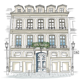 Drawing of the appartement de la mer facade