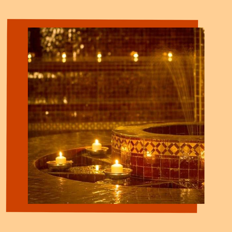 hammam traditionnel, sauna, piscine, salon de the, massages