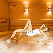 Parisienne en train de se détendre dans un sauna