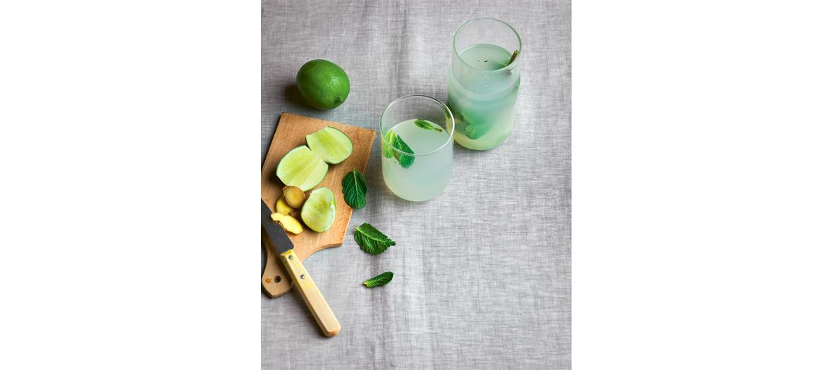Infusion eau de coco, citron vert, menthe, eau pétillante