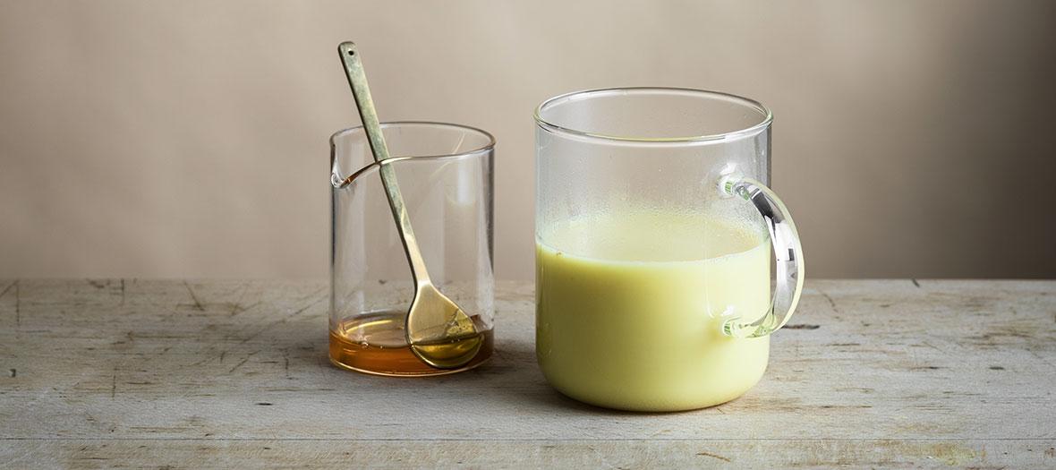 Ingrédient lait d'or curcuma, gingembre, cannelle et sirop d'agrave