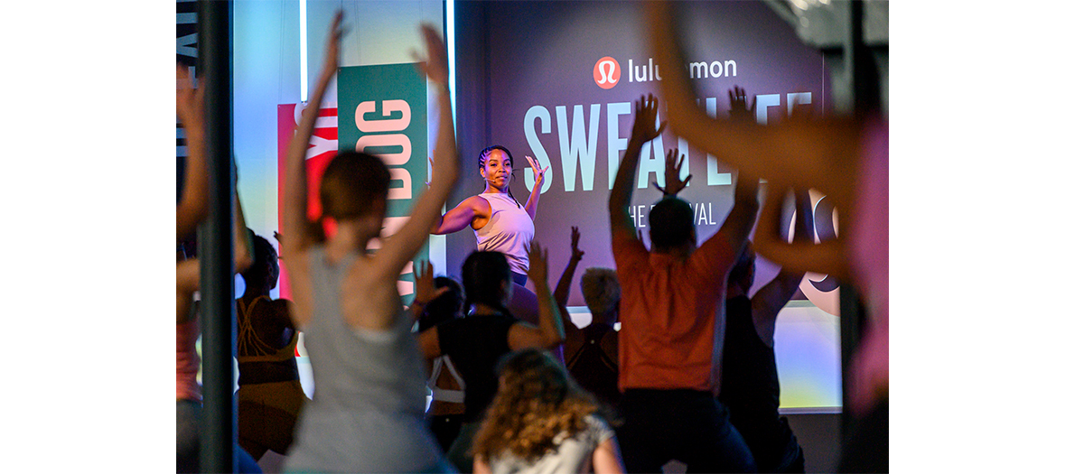 Yoga session at lululemon with hatha yoga, hip-hop yoga, yin yoga