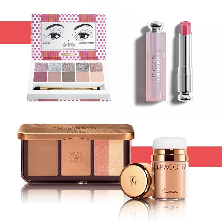 Poudre libre, palette contour et éclat Guerlain, palette Café Bônheur Lancôme, Dior Addict Lip Glow